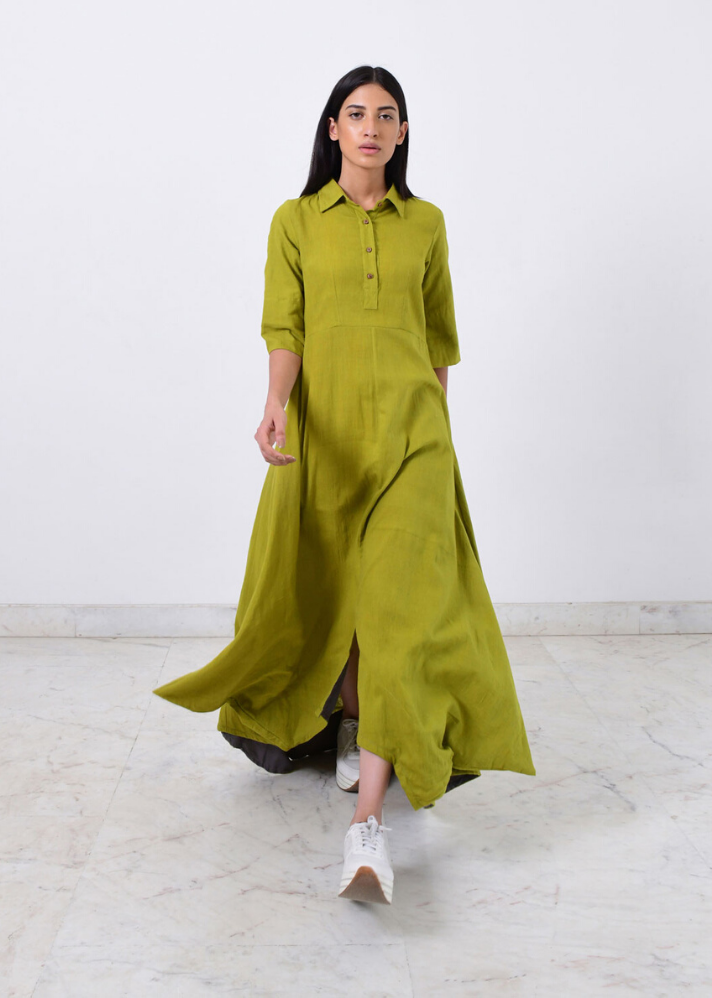 Ready to Ship! Green collar cowl dress - Ethical made fashion - onlyethikal