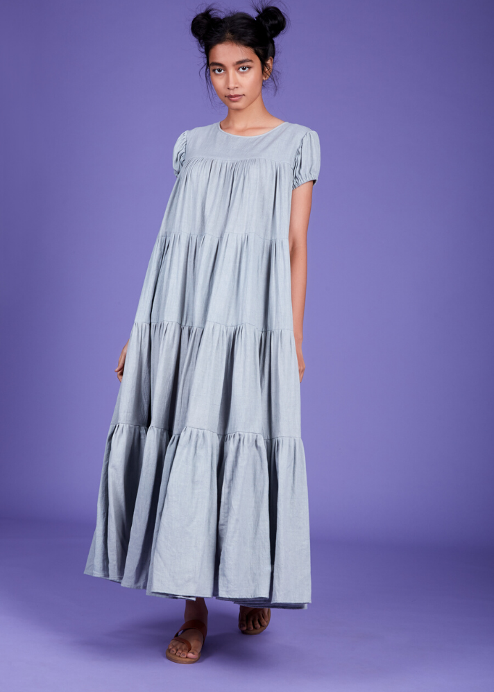 Maxi Tier dress - Blue - Ethical made fashion - onlyethikal
