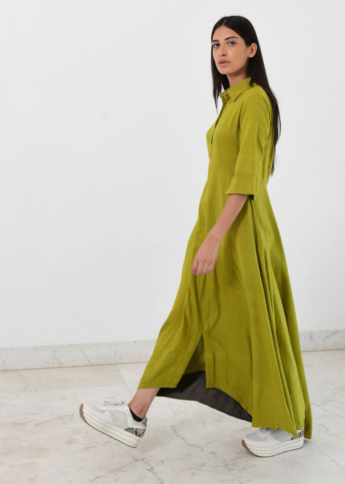 Green collar cowl dress - Ethical made fashion - onlyethikal