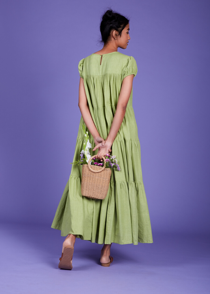 Maxi Tier dress - Green - Ethical made fashion - onlyethikal