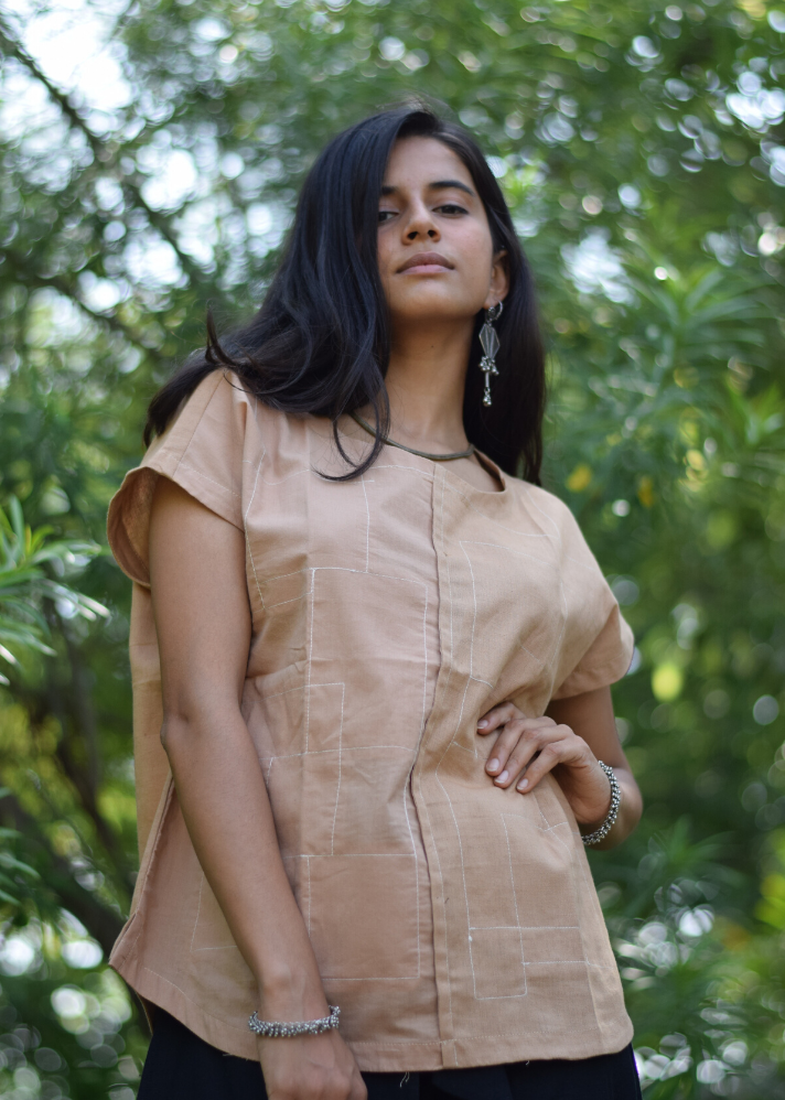 Upcycled cotton nude square top - Ethical made fashion - onlyethikal