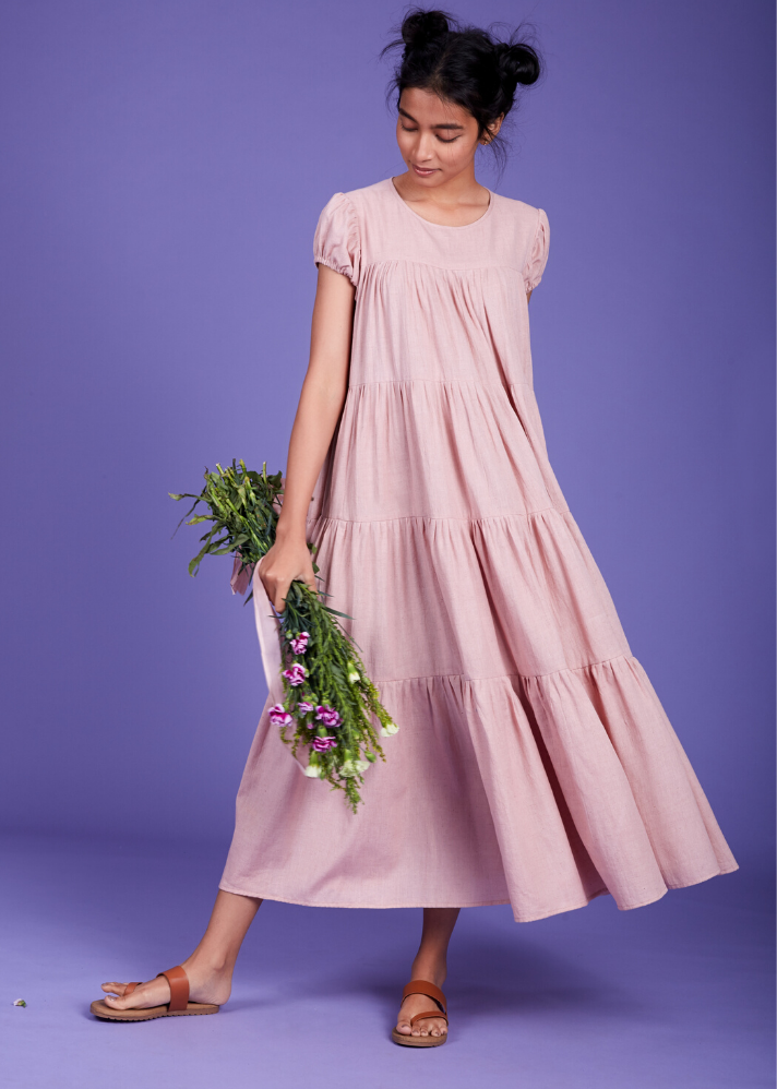 Maxi Tier dress - Pink - Ethical made fashion - onlyethikal