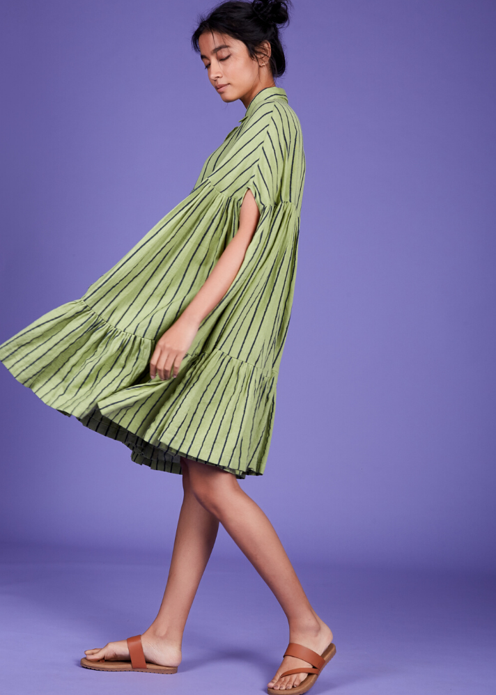Cape dress - Green - Ethical made fashion - onlyethikal