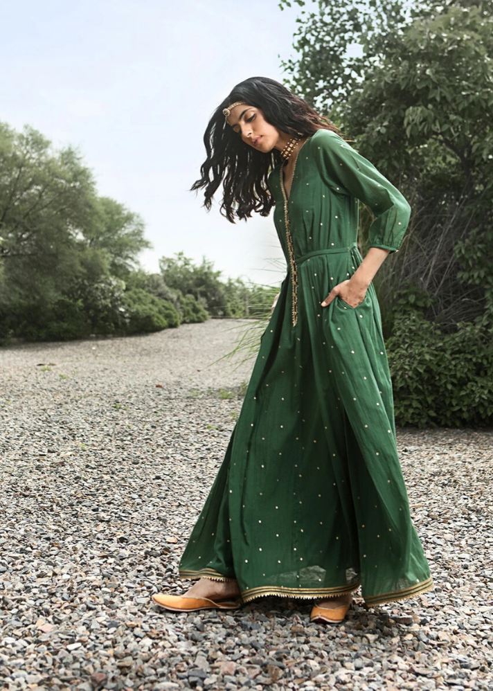 Green Ornamental dress - onlyethikal