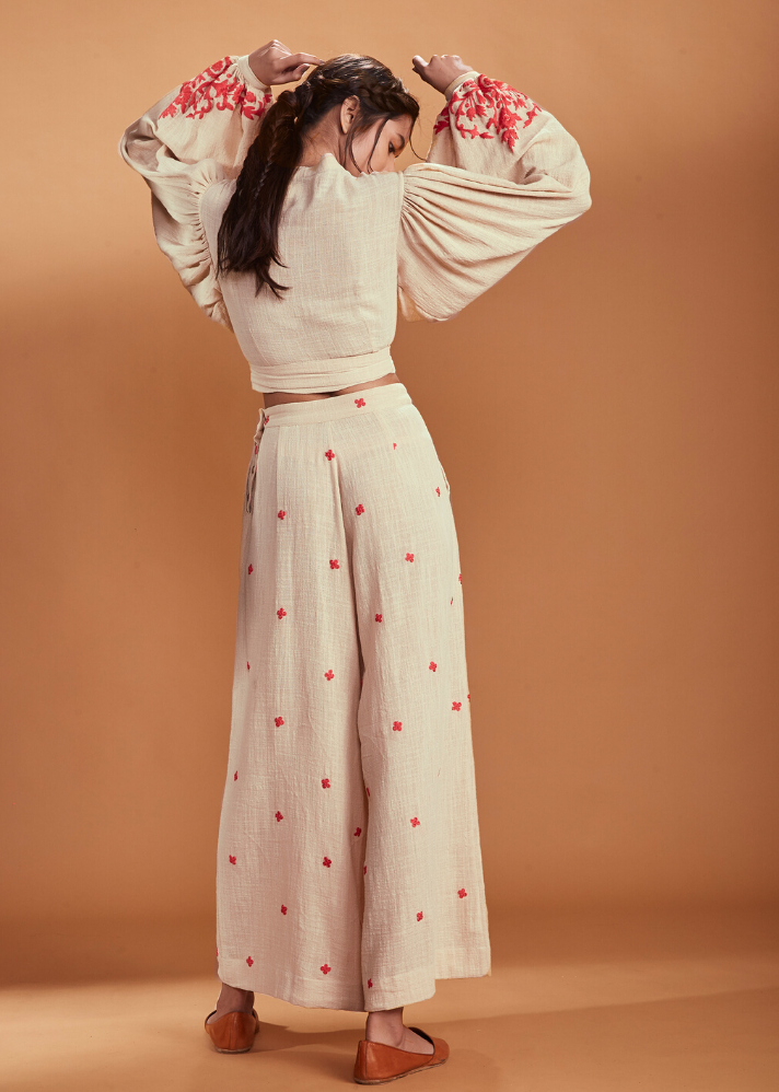 Culotte and Balloon sleeve set - Ivory