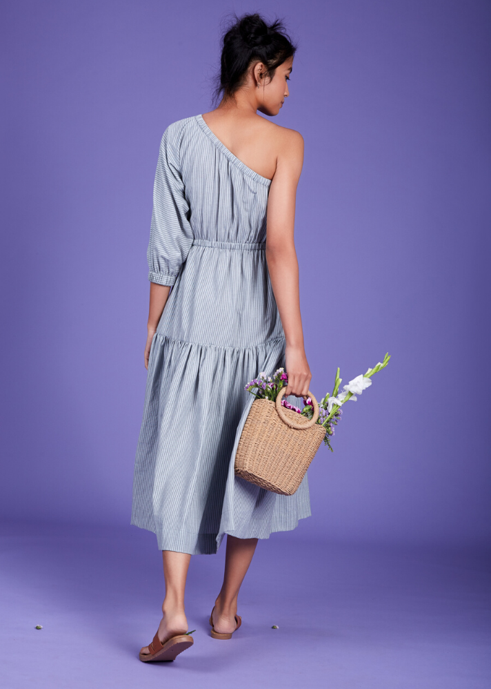 One Shoulder Tier dress - Blue - Ethical made fashion - onlyethikal