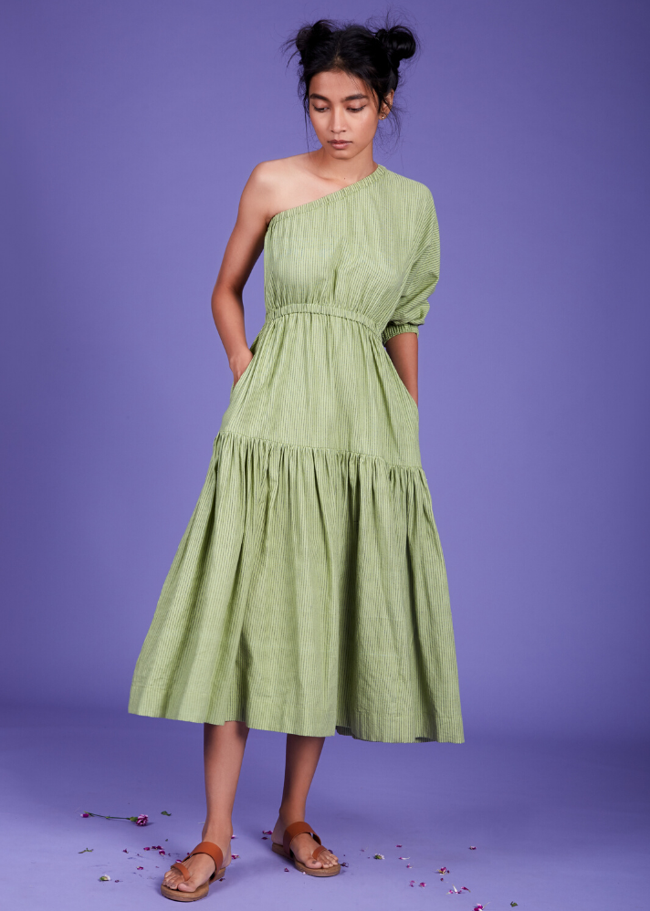 One Shoulder Tier dress - Green - Ethical made fashion - onlyethikal