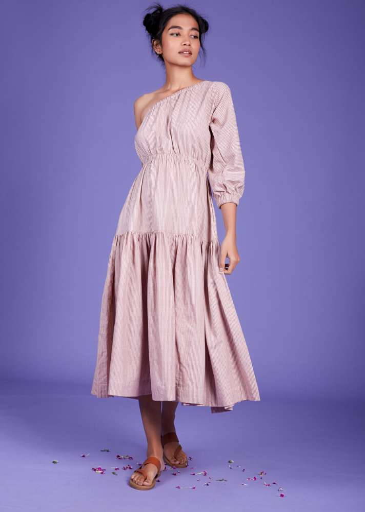 One Shoulder Tier dress - Pink - Ethical made fashion - onlyethikal