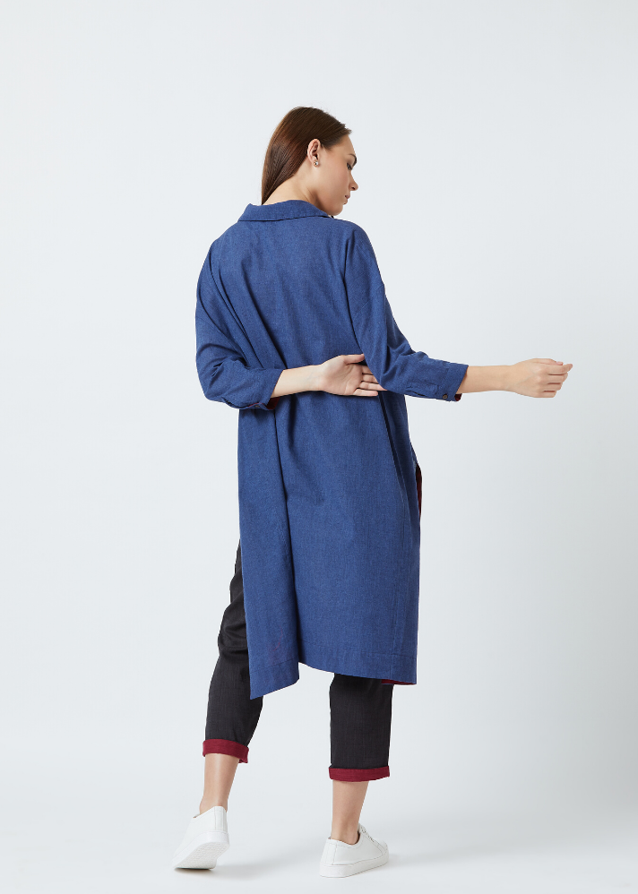 Ready to ship! Blue tunic and pants set - Ethical made fashion - onlyethikal