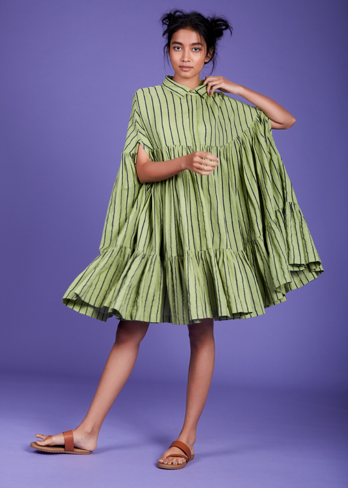 Ready to ship! Cape dress - Green - Ethical made fashion - onlyethikal