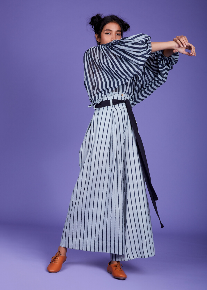 Striped handloom top- Blue - Ethical made fashion - onlyethikal