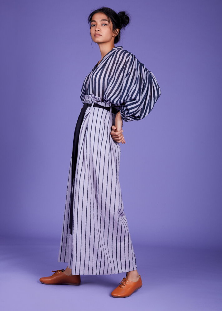 Striped handloom top - Lavender - Ethical made fashion - onlyethikal