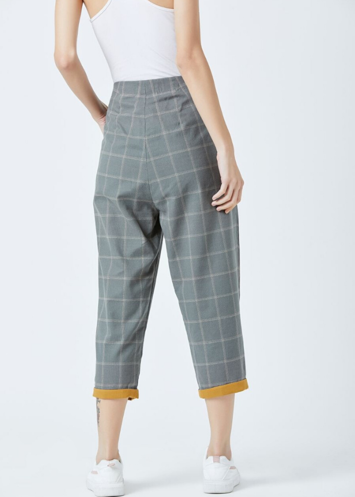 Grey check Pants - Ethical made fashion - onlyethikal