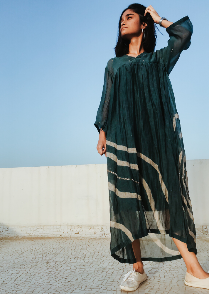 Green arazi dress - Ethical made fashion - onlyethikal