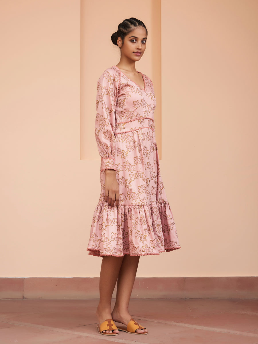 Phooljhadi Flowing Pink Dress - Ethical made fashion - onlyethikal