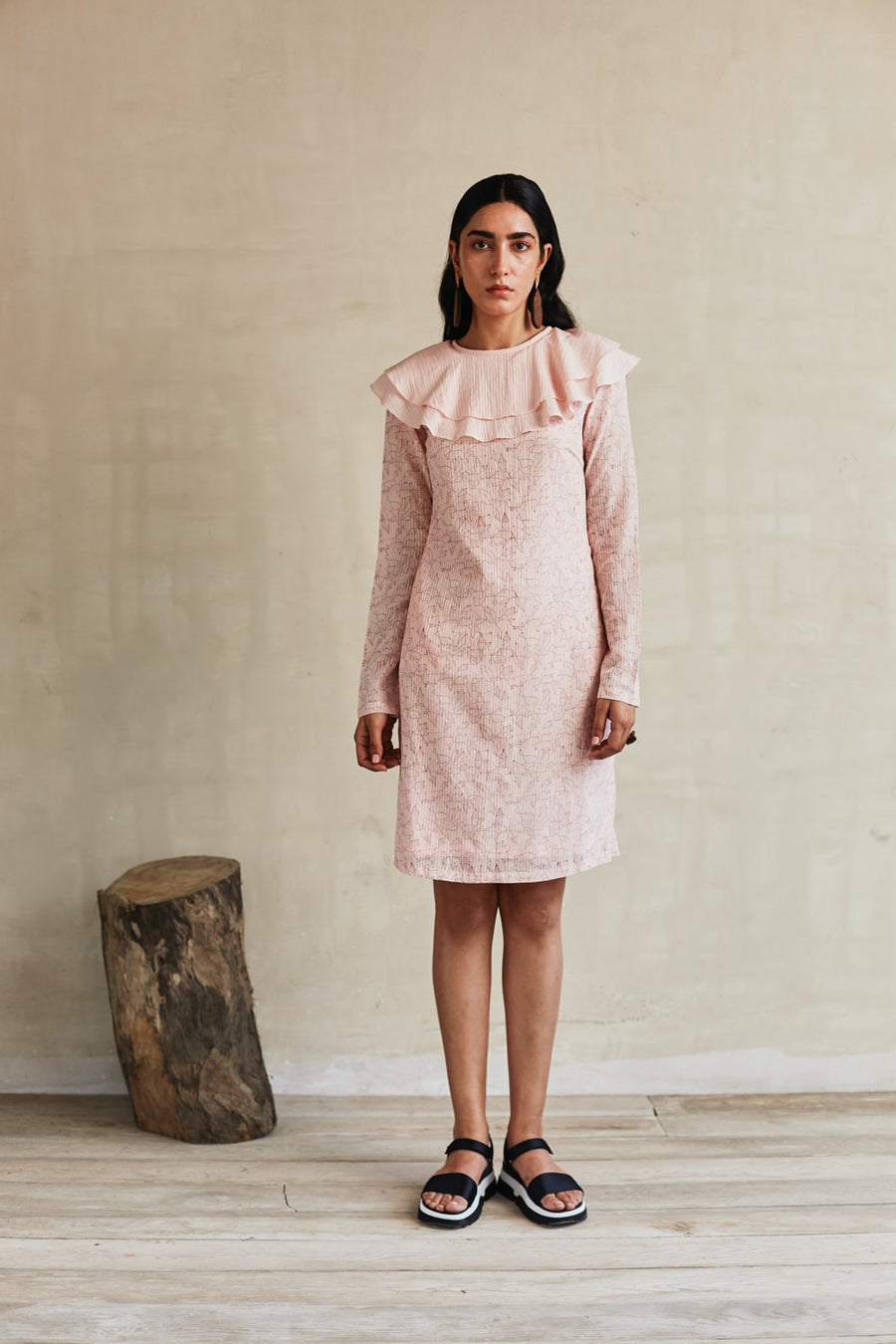 Ruffled Blush Short Dress - Ethical made fashion - onlyethikal