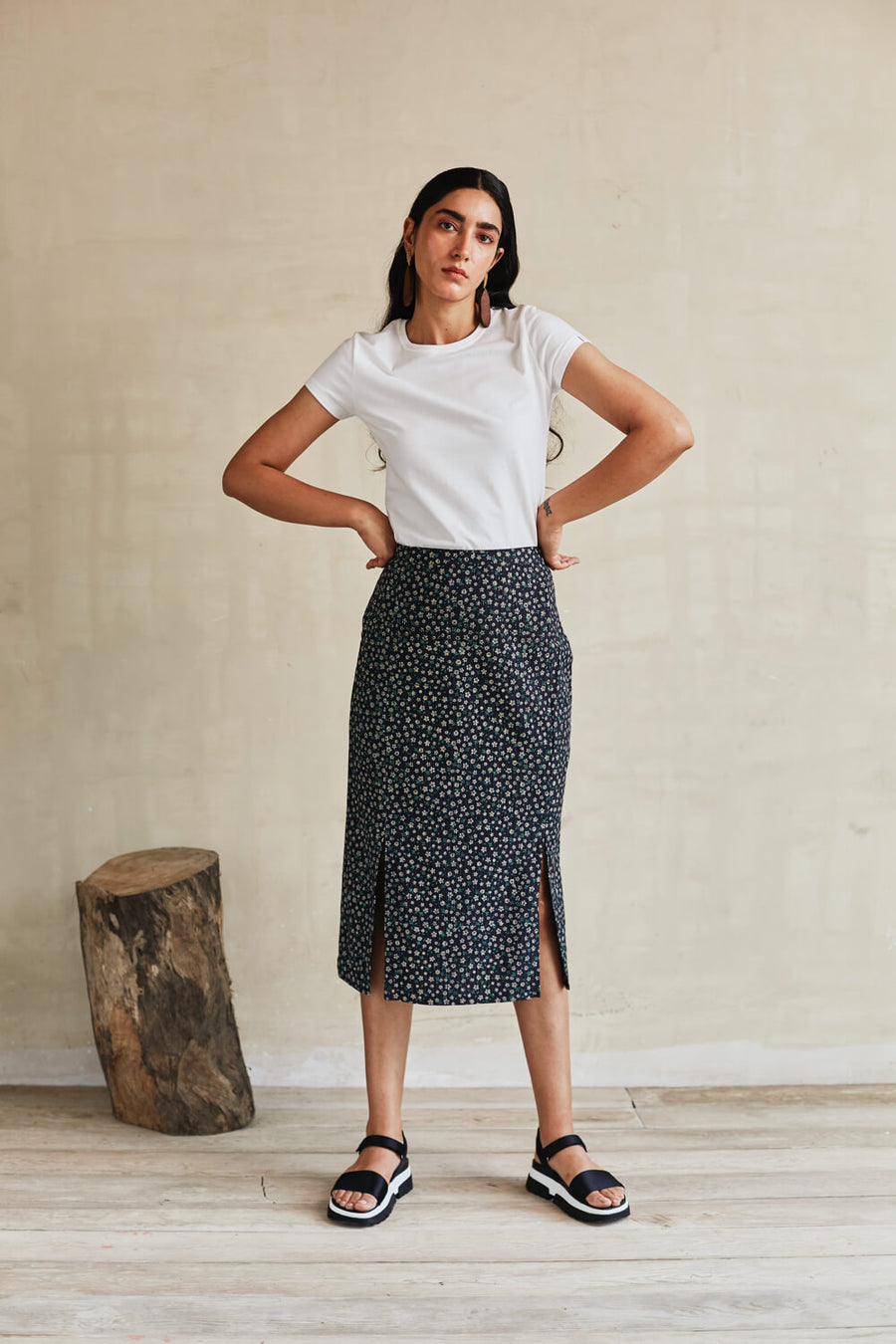 Floral Bounty Midi Skirt - Ethical made fashion - onlyethikal
