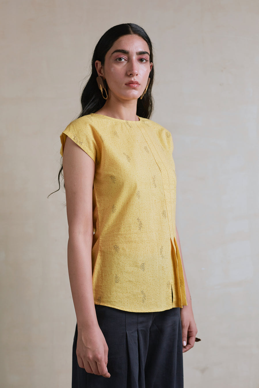 Honey Mustard Pleated Top - Ethical made fashion - onlyethikal