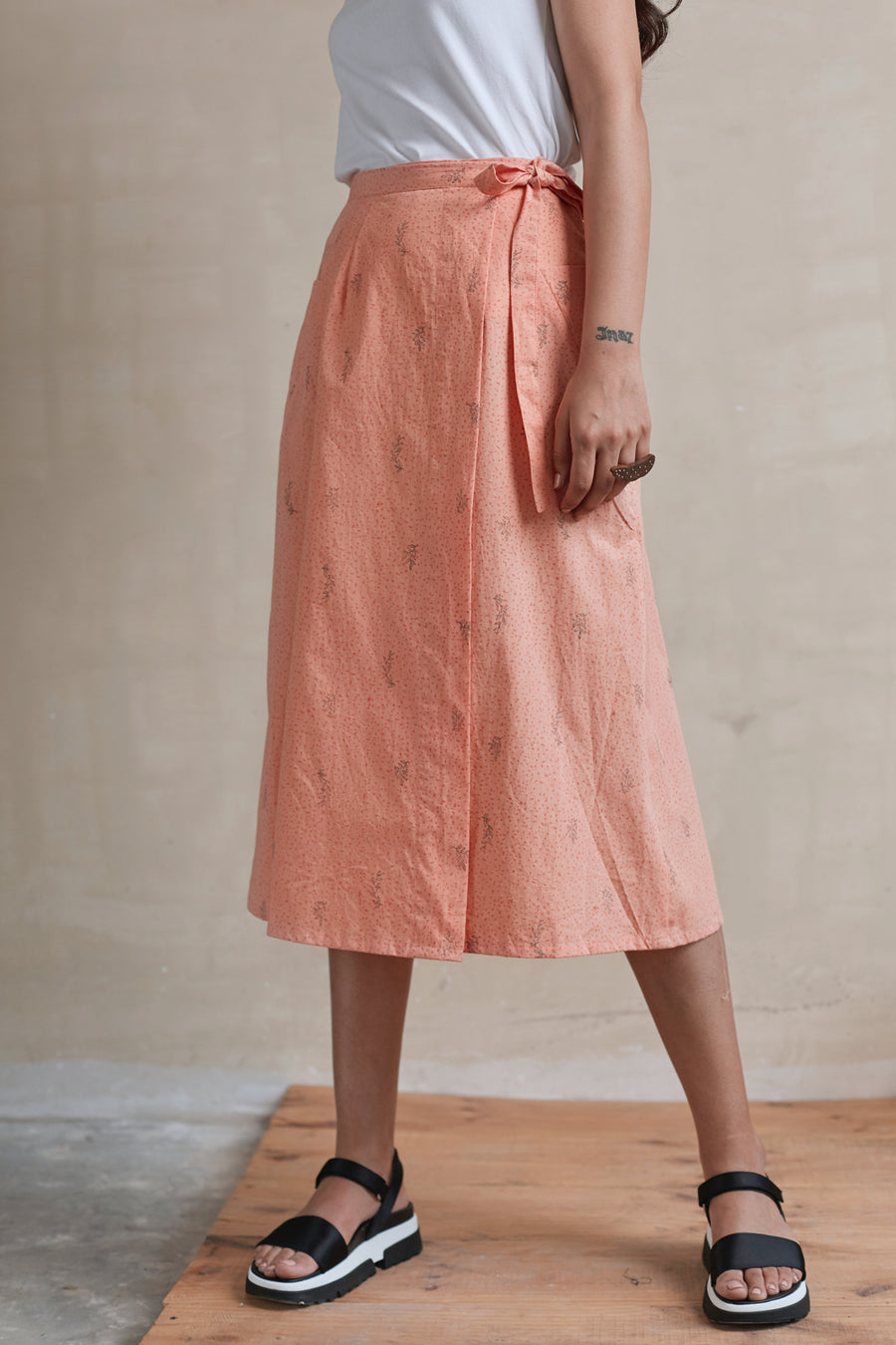 Wrapped in Peach Midi Skirt - Ethical made fashion - onlyethikal