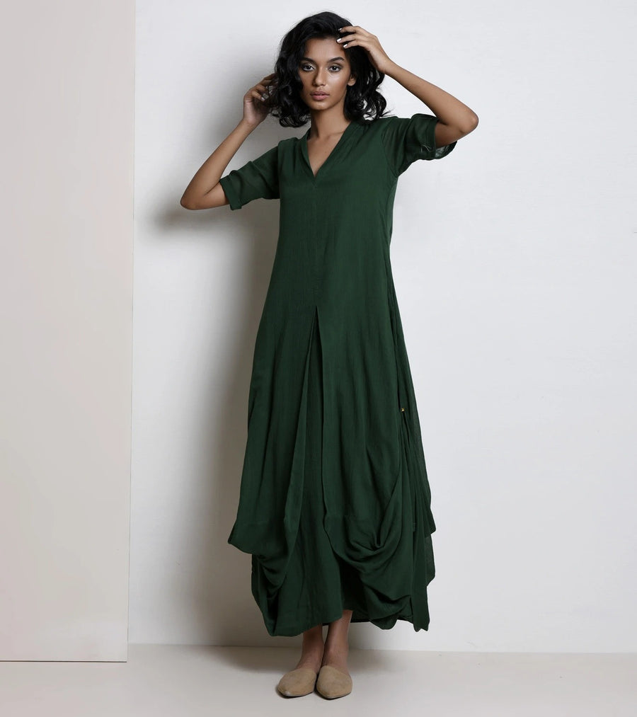 Forest green cowl dress - Ethical made fashion - onlyethikal