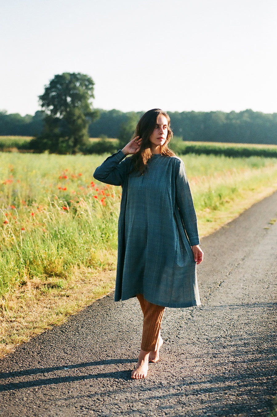 Indigo organic cotton dress with pale yellow accents - onlyethikal