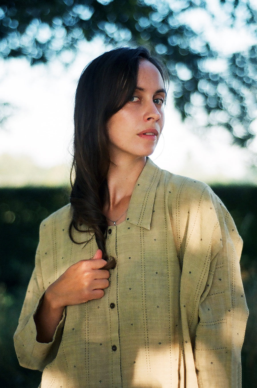 Pale olive button-down organic cotton tunic - Ethical made fashion - onlyethikal