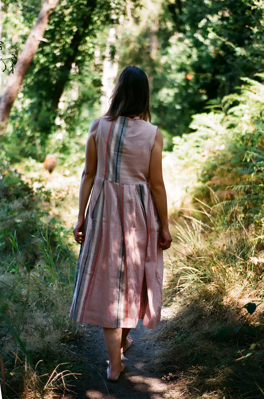 Powder pink pleated cotton dress - Ethical made fashion - onlyethikal