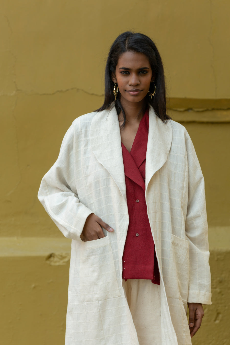 Off-white shawl collar jacket in Organic Cotton - Ethical made fashion - onlyethikal