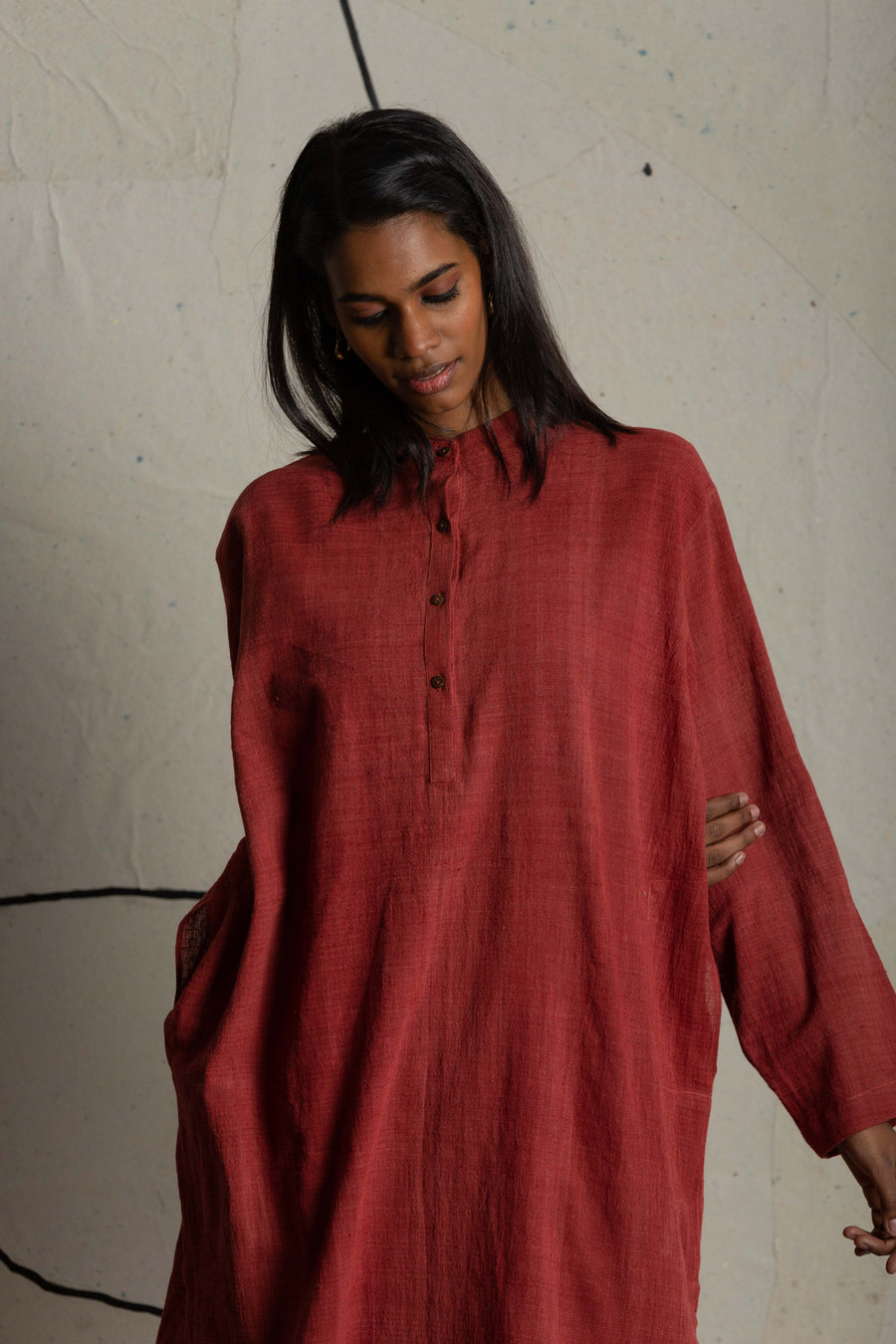 Warm red organic tunic - Ethical made fashion - onlyethikal