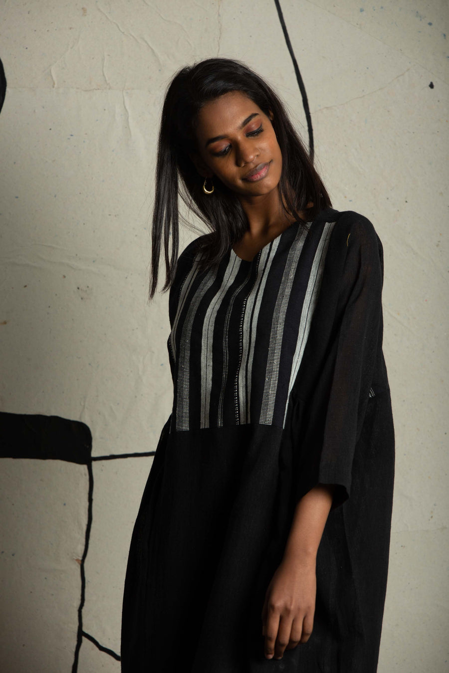 Striped-yoke black dress in Organic Cotton - Ethical made fashion - onlyethikal
