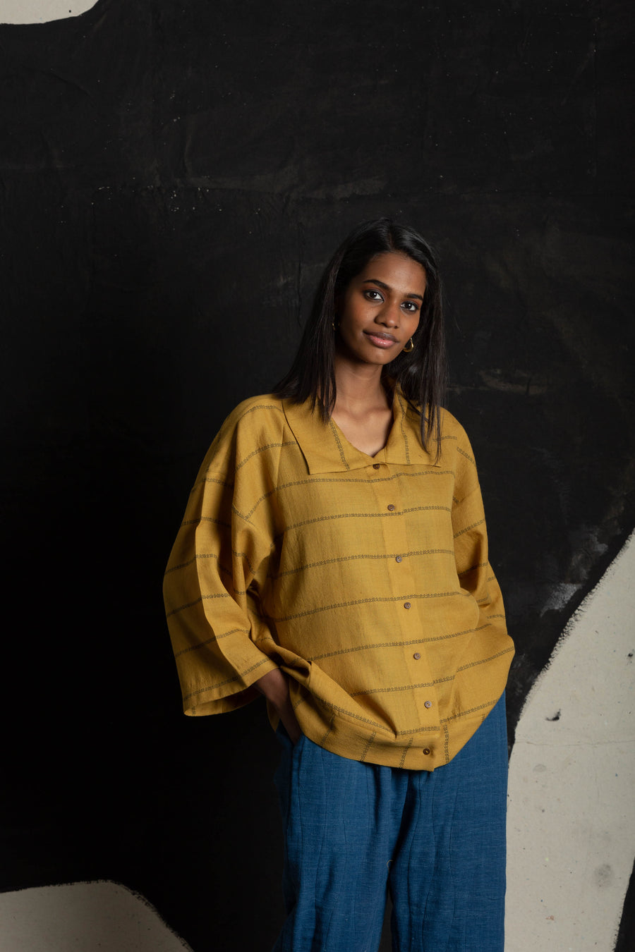 Mustard square-collar shirt - Ethical made fashion - onlyethikal