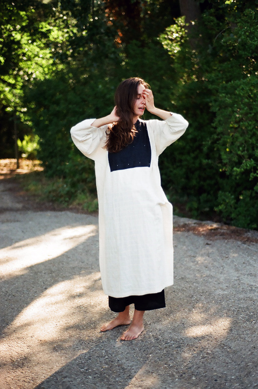 Off white organic cotton dress with patched yoke - Ethical made fashion - onlyethikal
