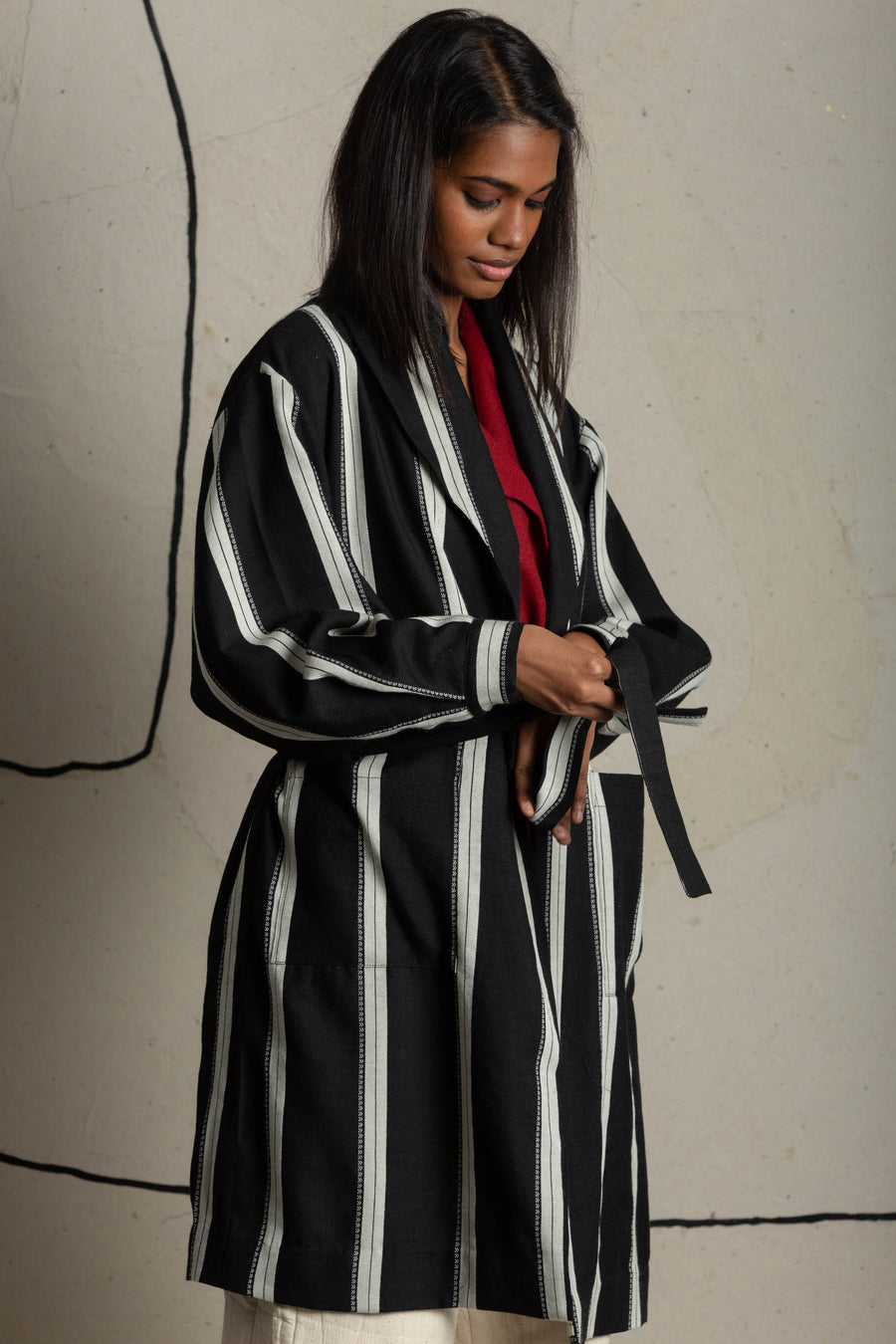Striped tie-up jacket - Ethical made fashion - onlyethikal