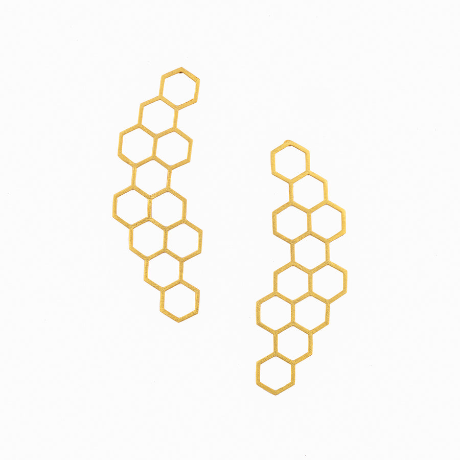 Hexagon Earrings - Ethical made fashion - onlyethikal