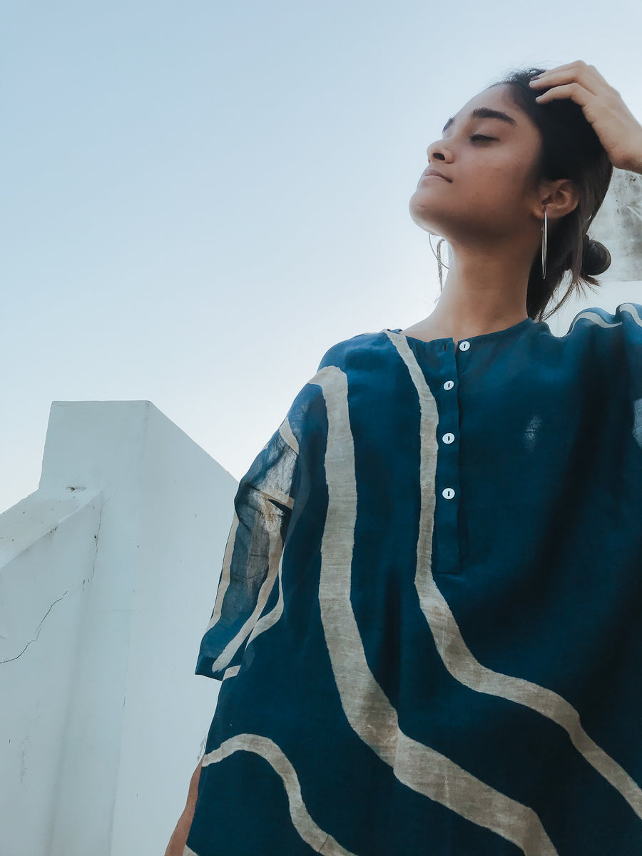 Indigo Blue Yaz Dress - Ethical made fashion - onlyethikal