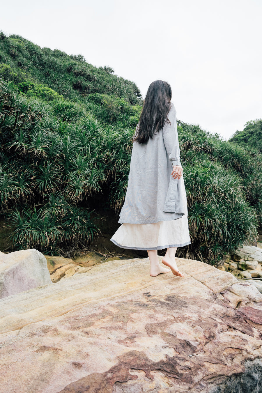 Grey and white jacket dress in Organic Cotton - Ethical made fashion - onlyethikal
