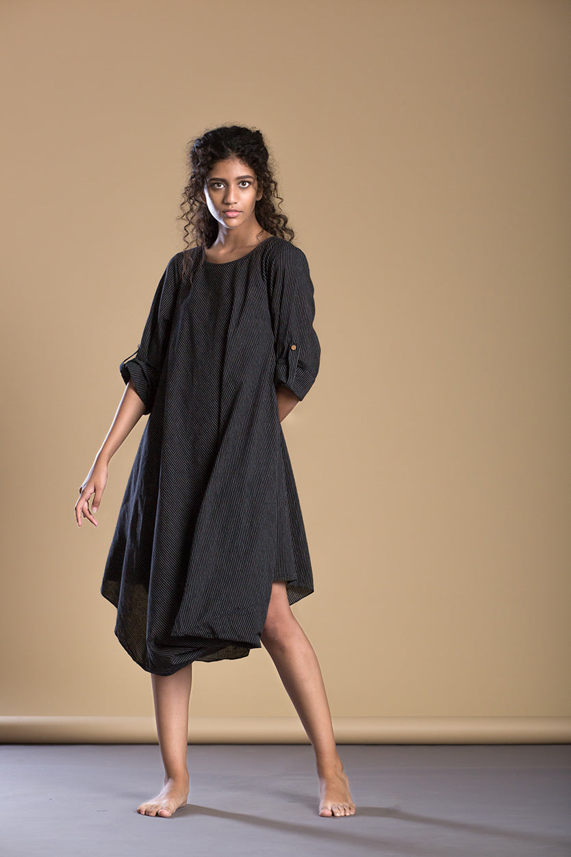 Black Pin Stripe Cowl Dress