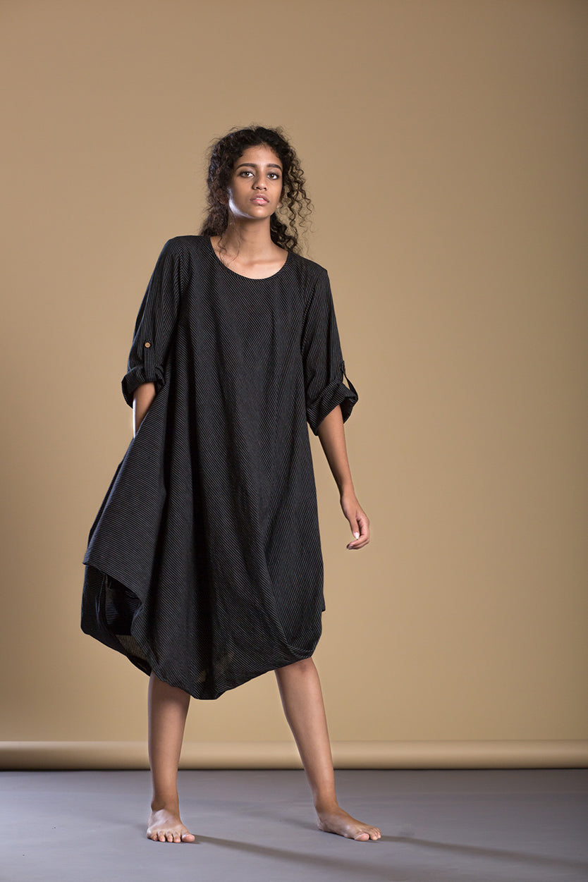 Black Pin Stripe Cowl Dress - Ethical made fashion - onlyethikal