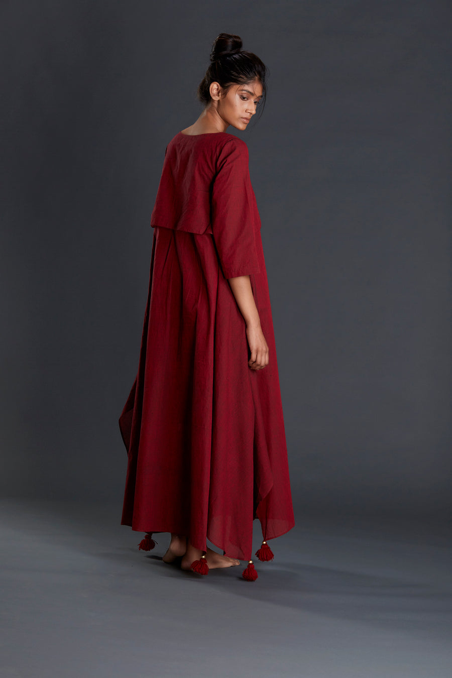 Maroon Boho Akaar Dress - onlyethikal