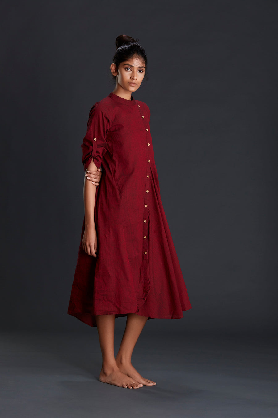 Maroon Buttoned Akaar Dress - Ethical made fashion - onlyethikal