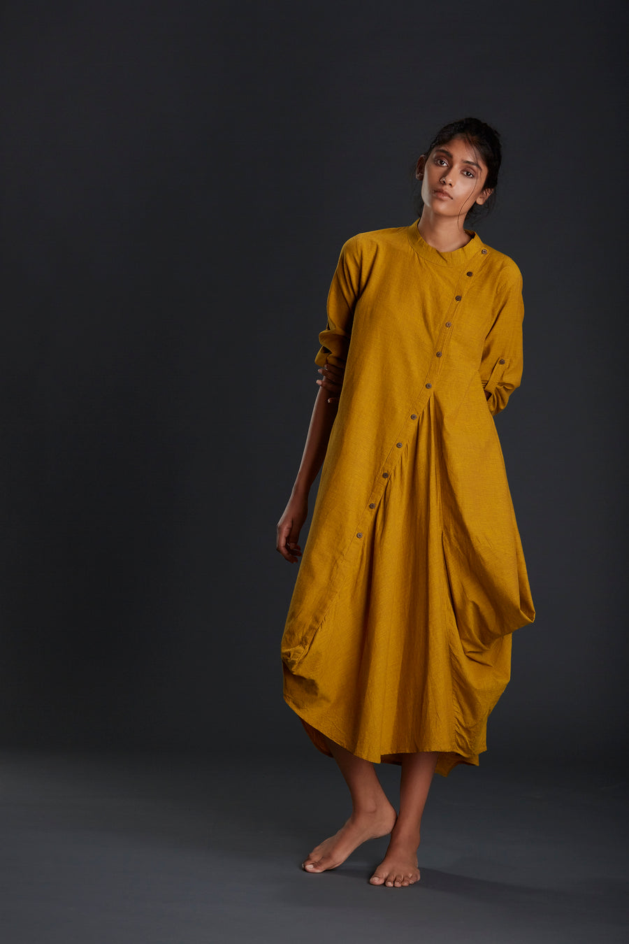 Mustard Buttoned Akaar Dress - Ethical made fashion - onlyethikal