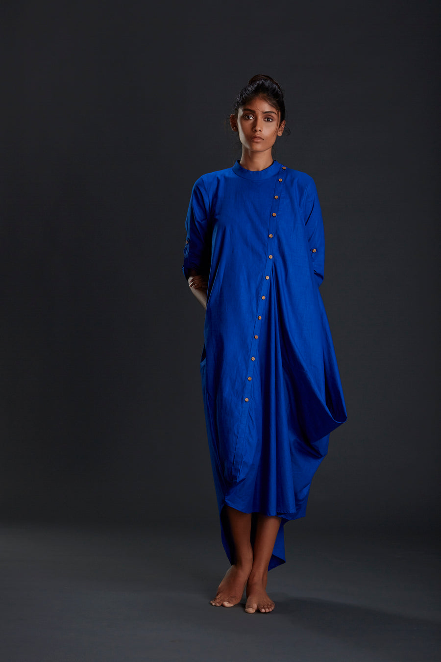 Royal Blue Buttoned Akaar Dress