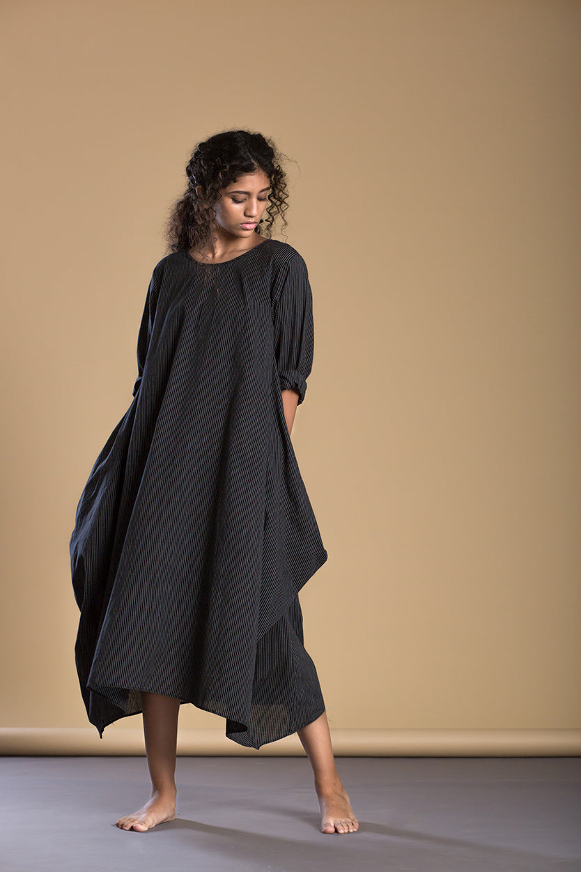 Black Pin Stripe Side Cowl Dress