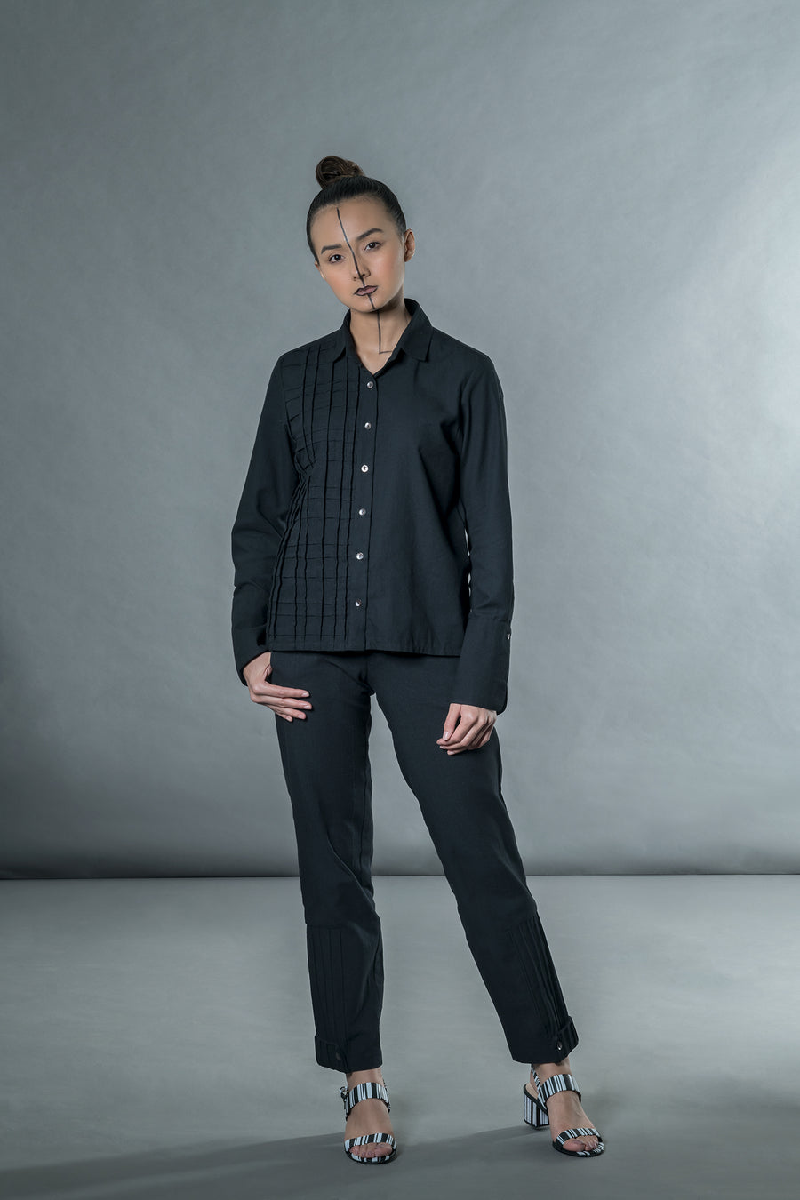 Black Shirt with Cross Pleats - Ethical made fashion - onlyethikal