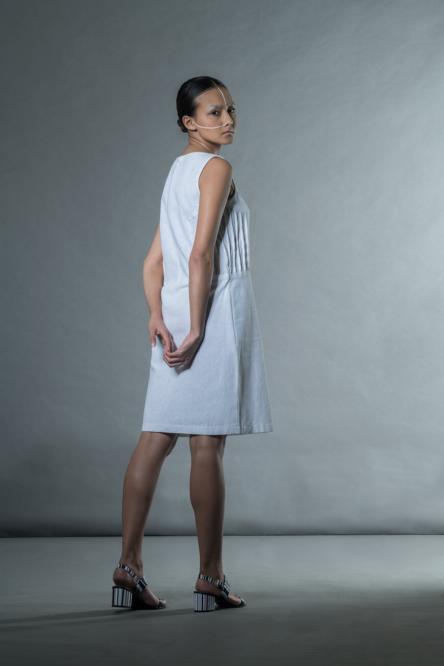 White shift dress with bubble tucks - Ethical made fashion - onlyethikal
