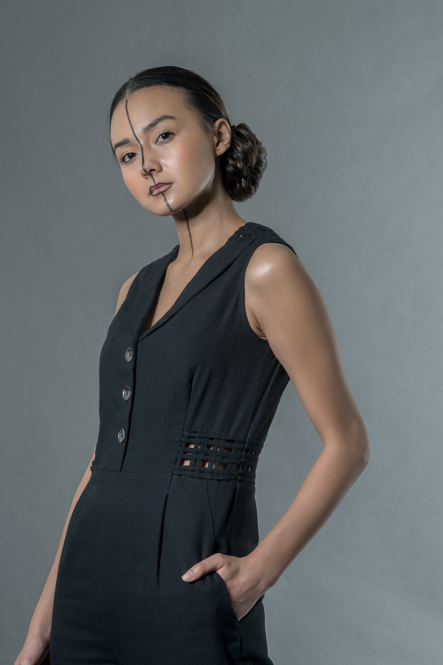 Black jumpsuit with matting - Ethical made fashion - onlyethikal