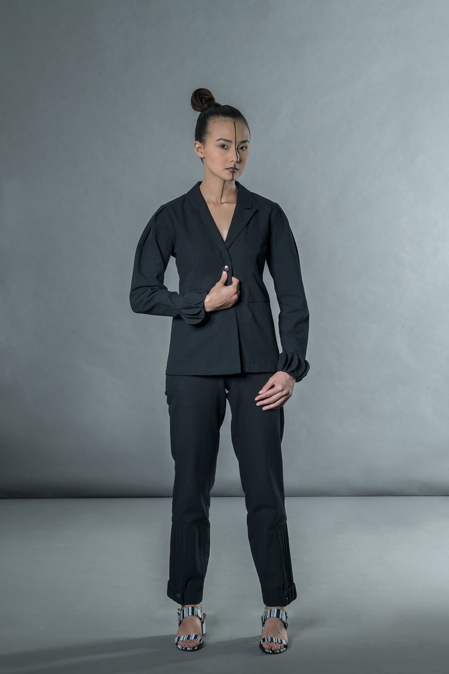 Black pants with corded patch - Ethical made fashion - onlyethikal