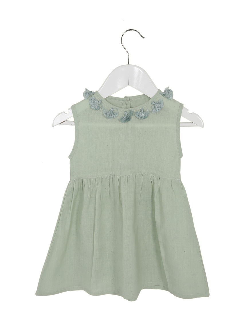 Organic Primrose Dress Mint - Ethical made fashion - onlyethikal