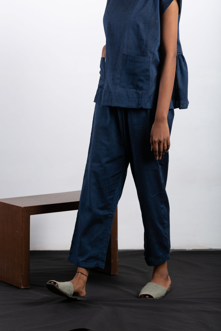 Midnight blue pyjama set in Organic Cotton - Ethical made fashion - onlyethikal