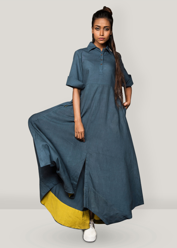Grey collar cowl dress - Ethical made fashion - onlyethikal
